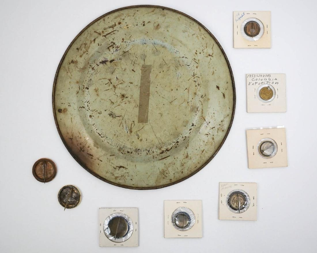 Antique Political Pinback Buttons and Taft Tray - 2