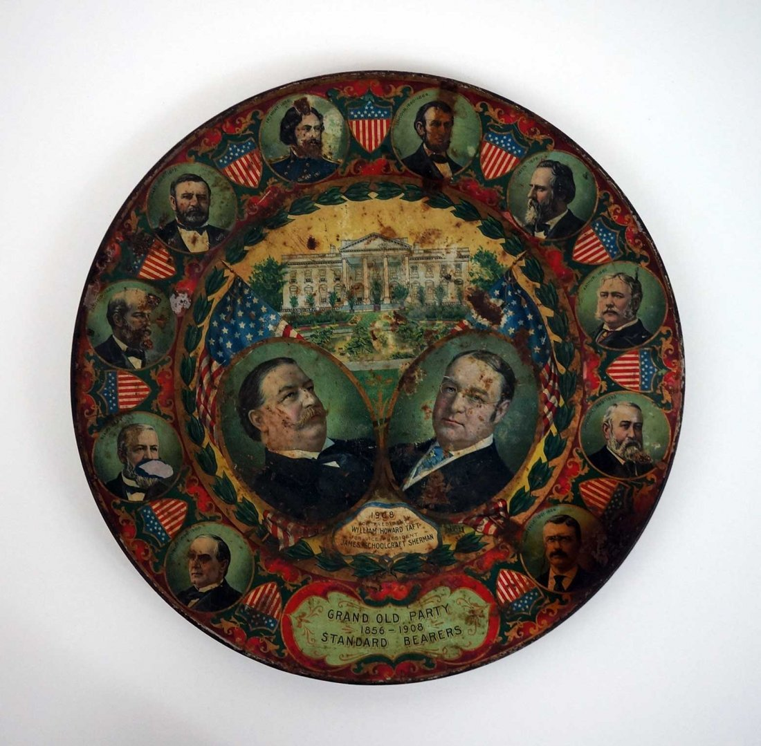 Antique Political Pinback Buttons and Taft Tray - 3