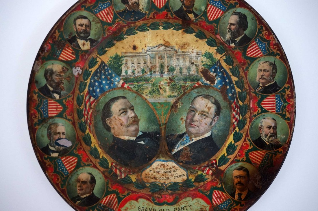 Antique Political Pinback Buttons and Taft Tray - 4