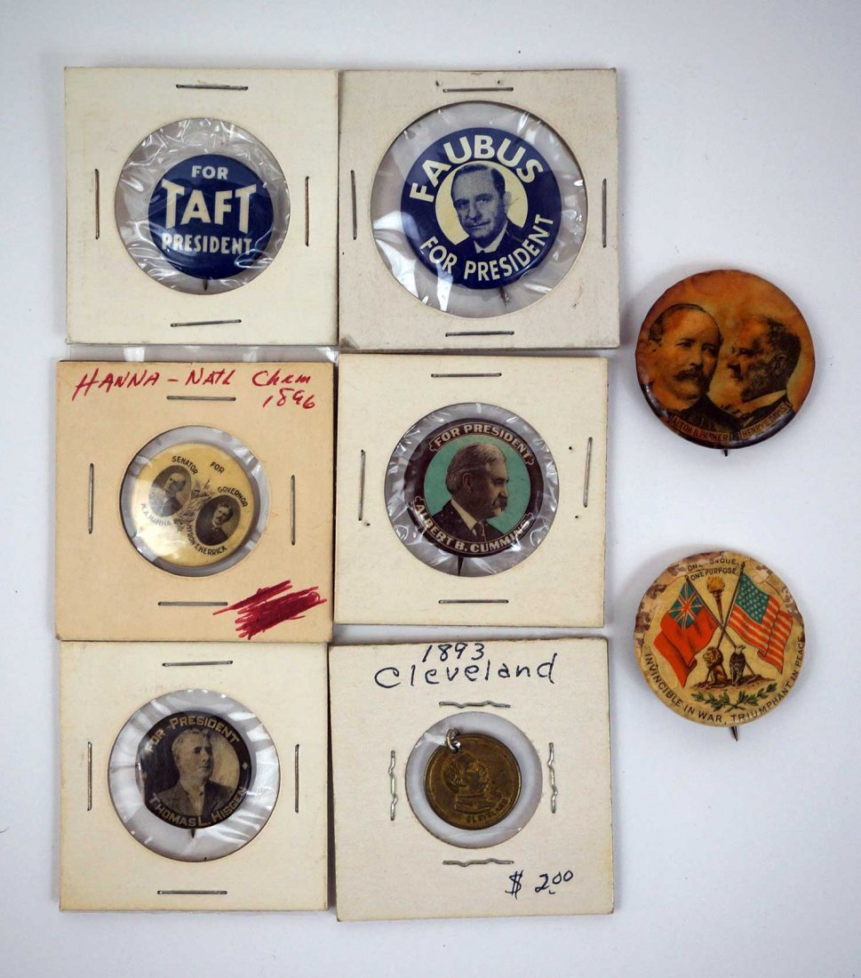 Antique Political Pinback Buttons and Taft Tray - 5