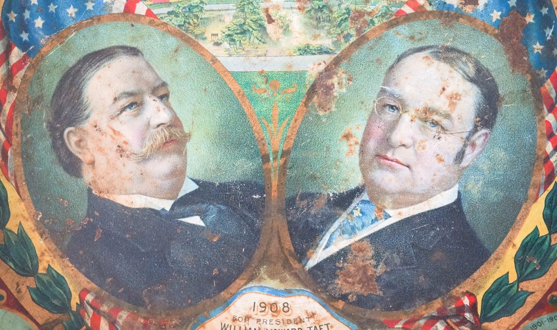 Antique Political Pinback Buttons and Taft Tray - 7