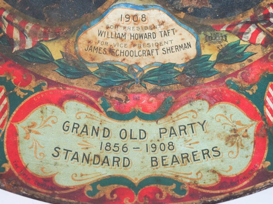 Antique Political Pinback Buttons and Taft Tray - 8