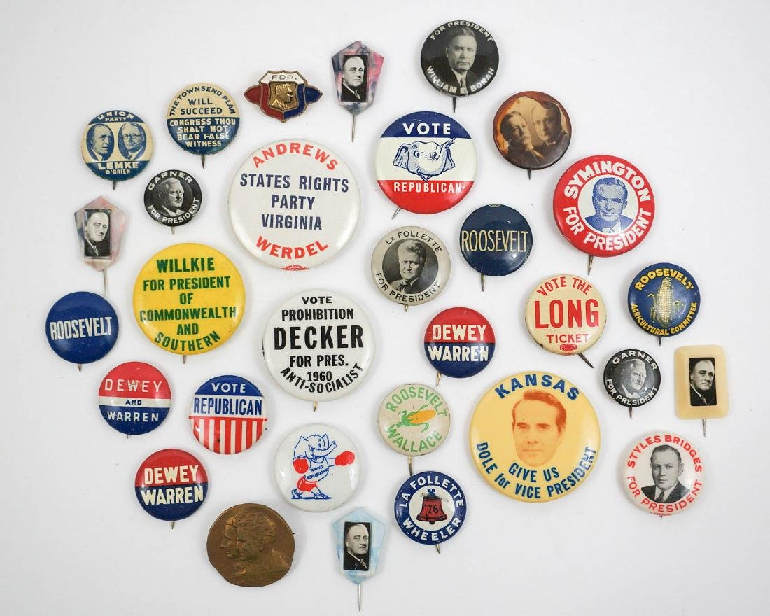 Group of Thirty Vintage Political Pinback Buttons