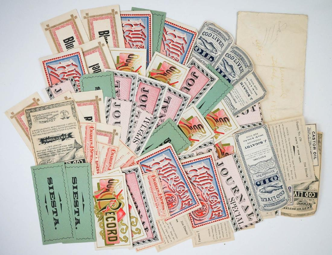 1880's Unused Bottle Labels and Cigar Box Labels