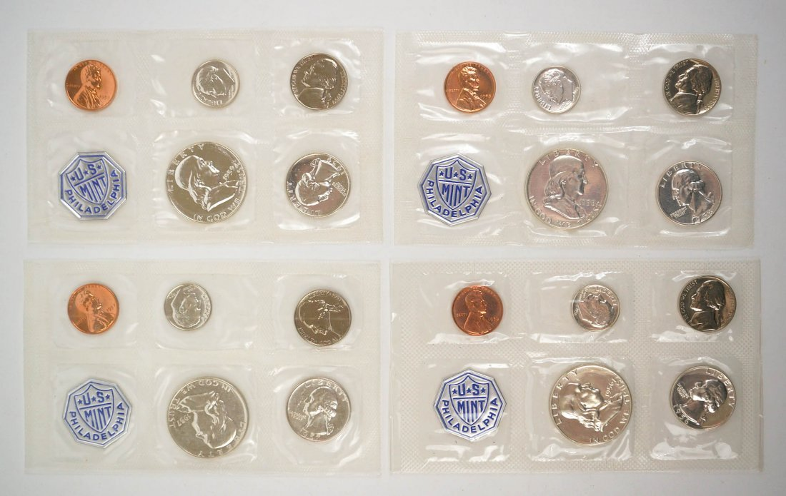 Four U.S. Mint Proof Sets 1956, 1957, 1958, 1959 - 2