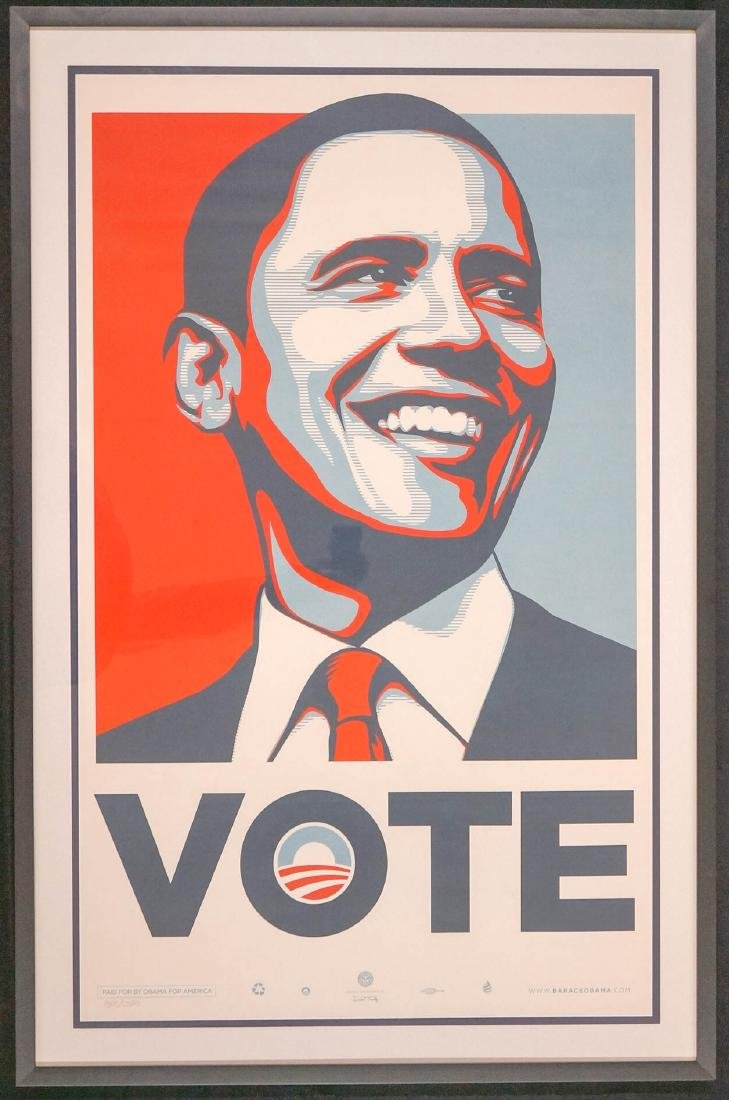 Obama Vote Framed Print in Colors 343/5000