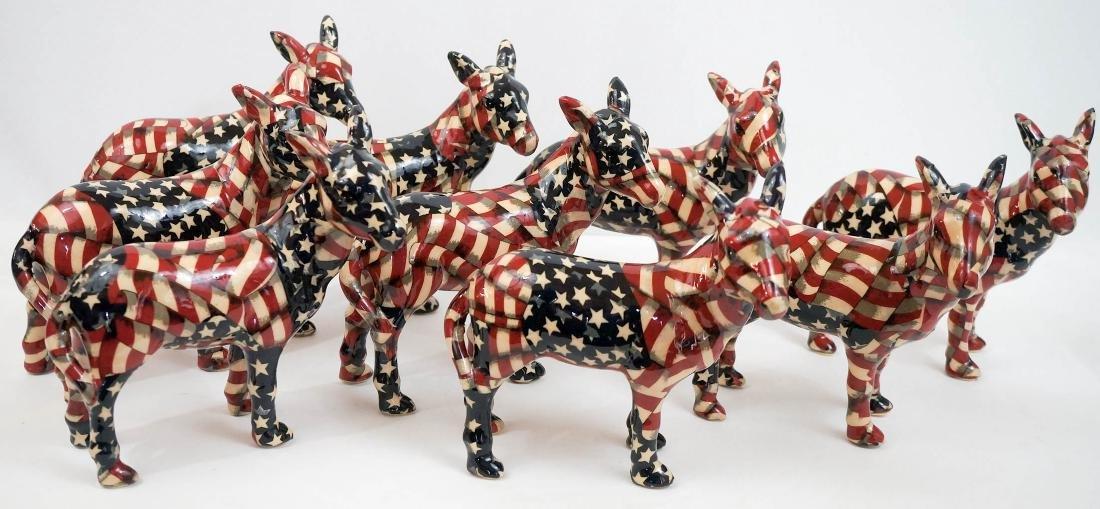 Group of Nine Democratic Donkey Figures
