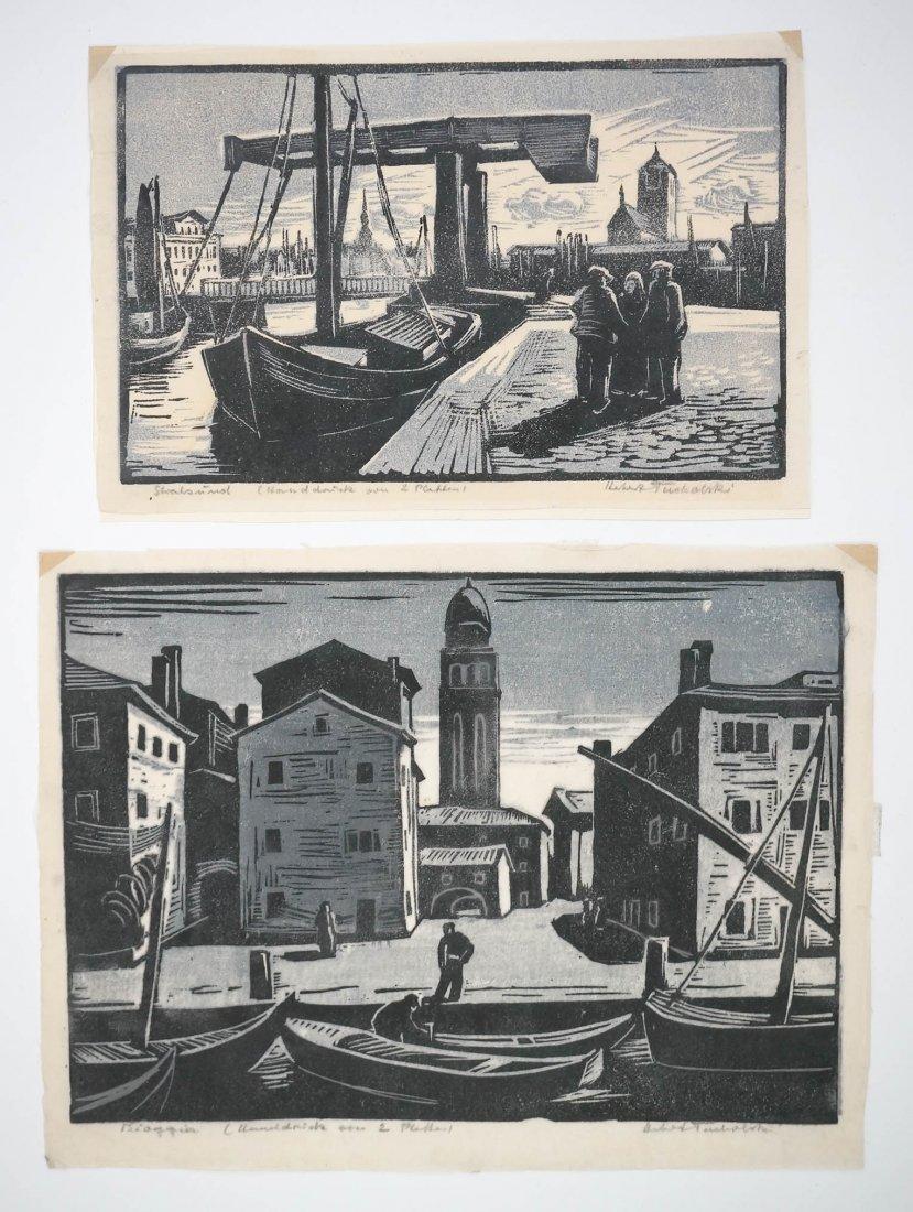 Lot of 2 Herbert Tucholski German Signed Woodcuts.