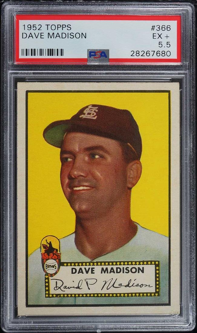 1952 Topps Dave Madison #366 PSA 5.5 EX+