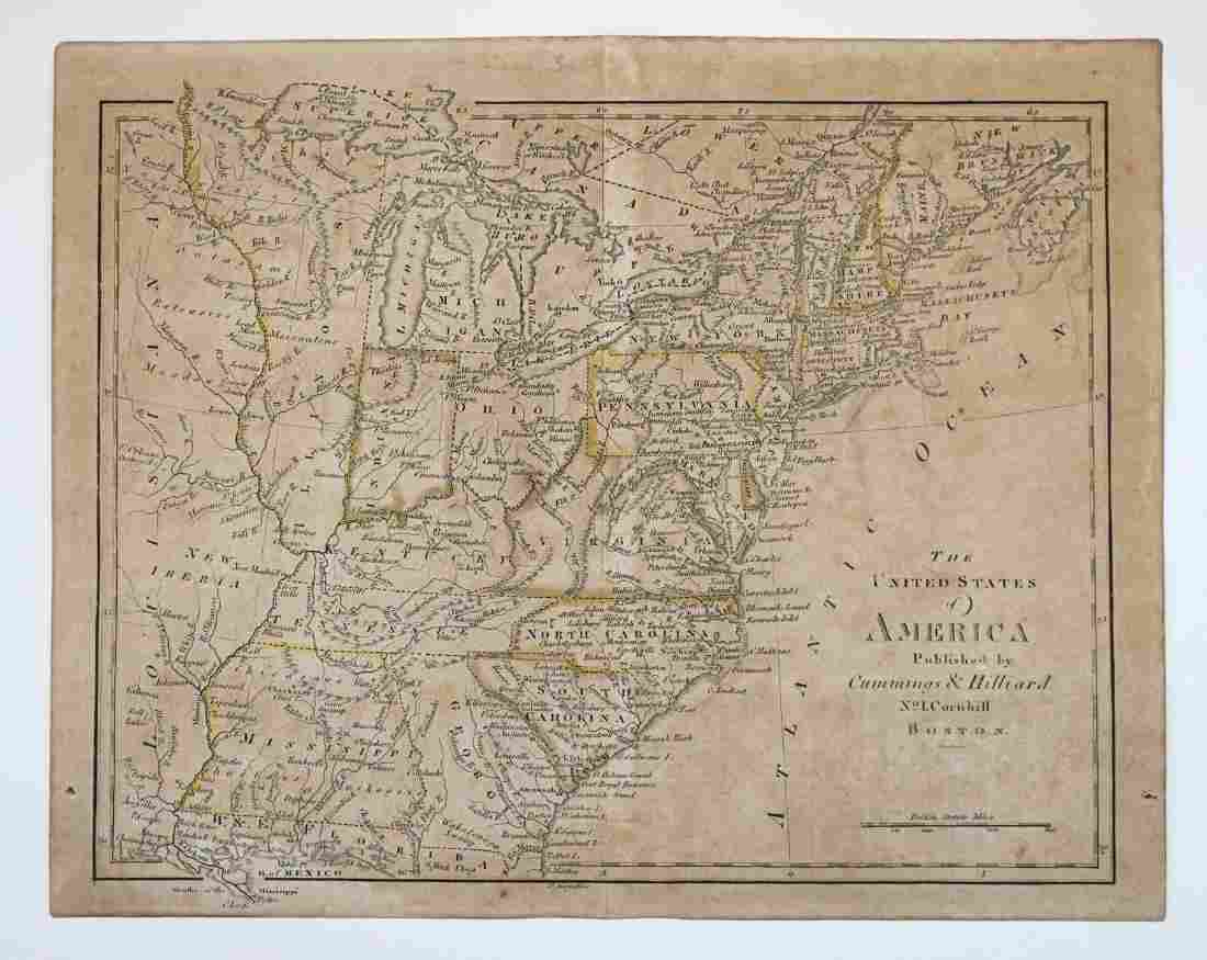 Early 19th Century Cummings & Hilliard U.S. Map