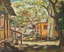William Hartman Oil on Board Old Town 1946