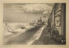 Raphael Soyer Lithograph Waterfront