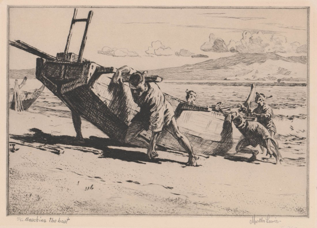 Martin Lewis Etching Beaching The Boat