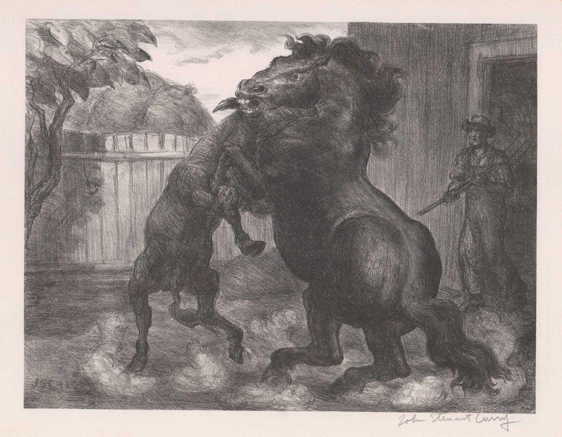 John Steuart Curry [Stallion And Jack Fighting]