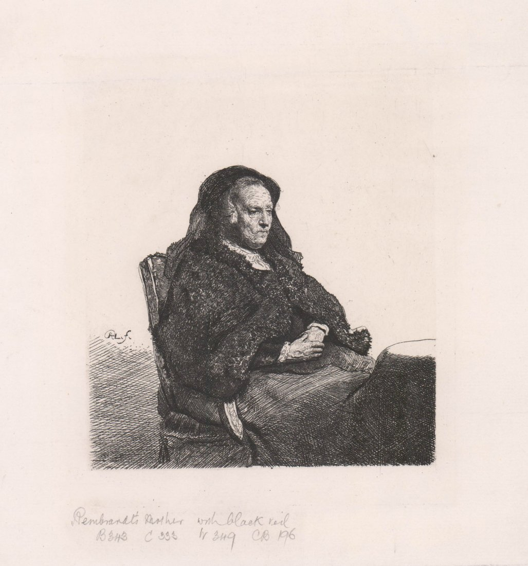 Rembrandt's Mother with a Black Veil Etching