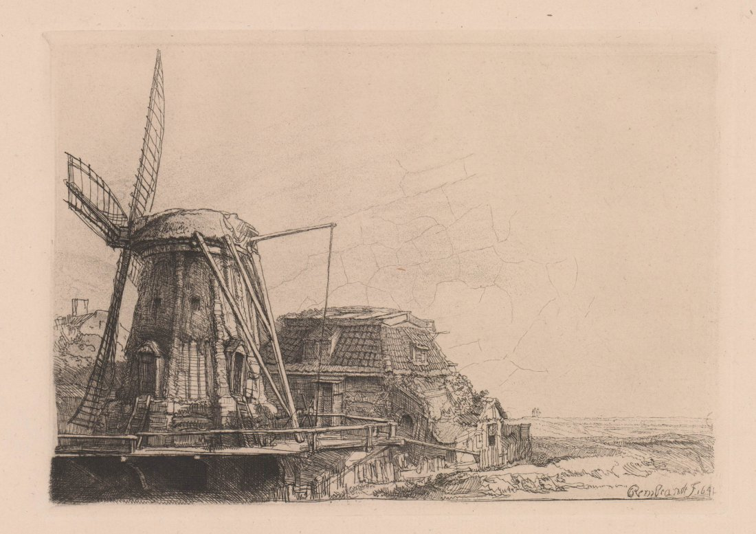 Rembrandt van Rijn Etching The Windmill