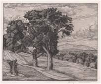 Luigi Lucioni Etching Trees and Mountains