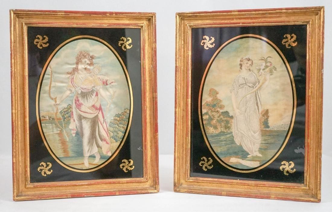 Circa 1800 Pair of Regency Silkworks