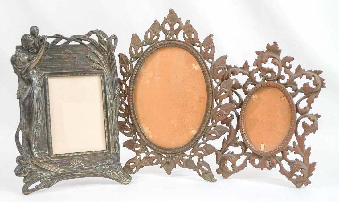 Three Antique Iron Standing Mirrors