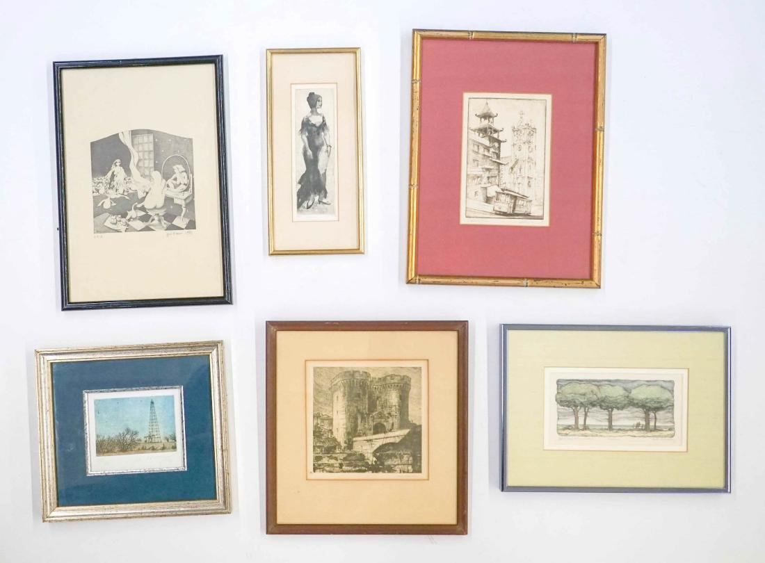 Six Small Framed and Signed Prints