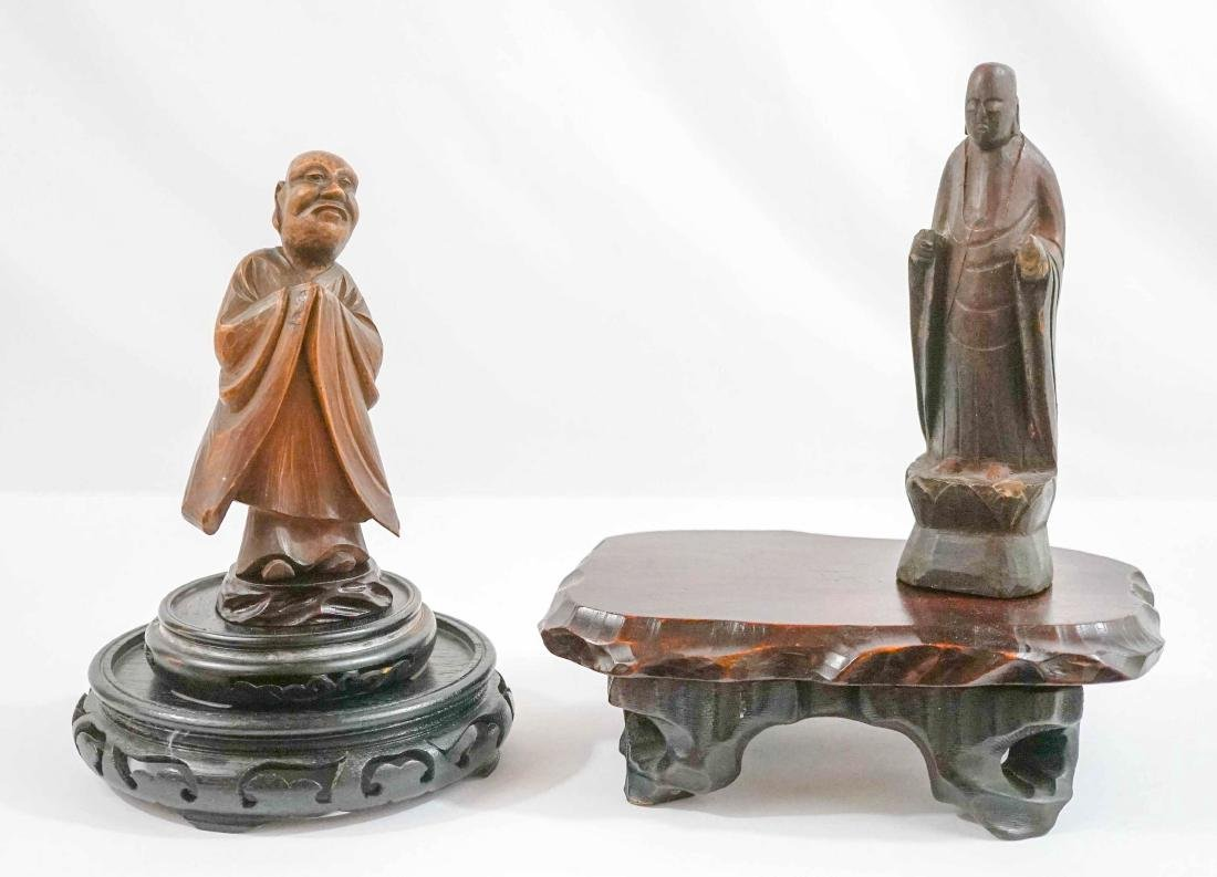 Carved Wood Asian Figures and Stands