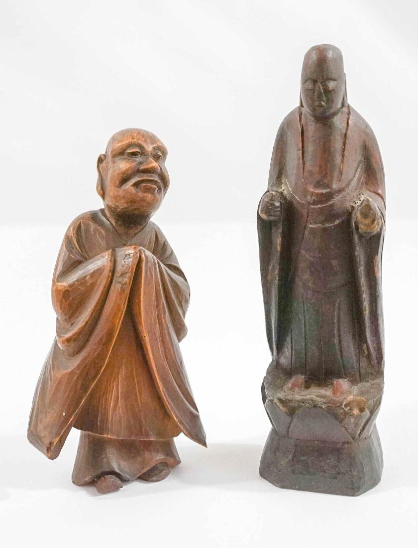 Carved Wood Asian Figures and Stands - 2