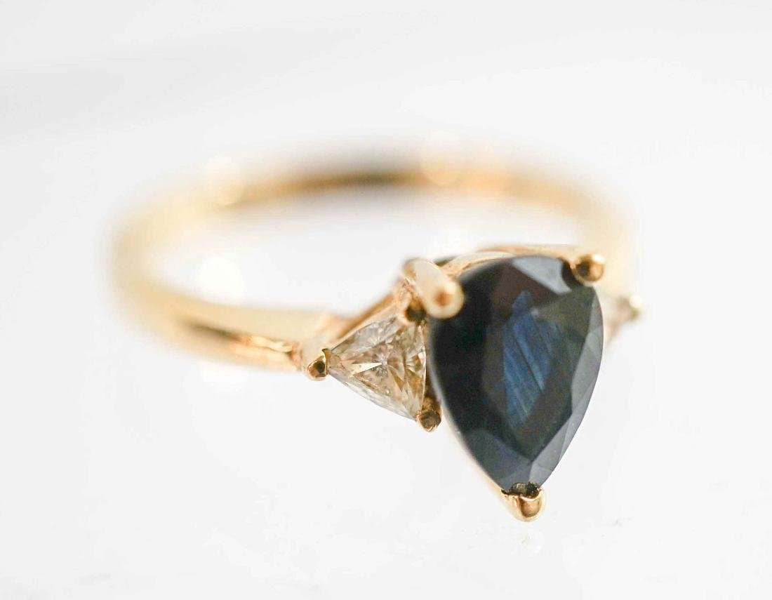 Lady's 14k Yellow Gold Sapphire and Diamond Ring