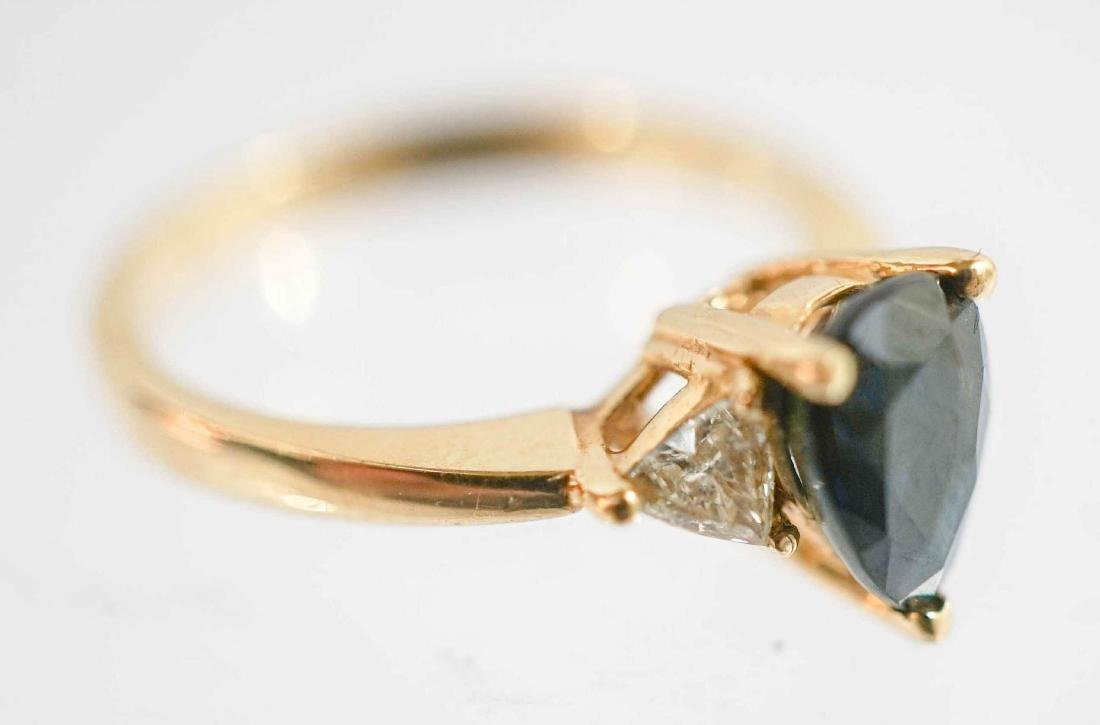 Lady's 14k Yellow Gold Sapphire and Diamond Ring - 2