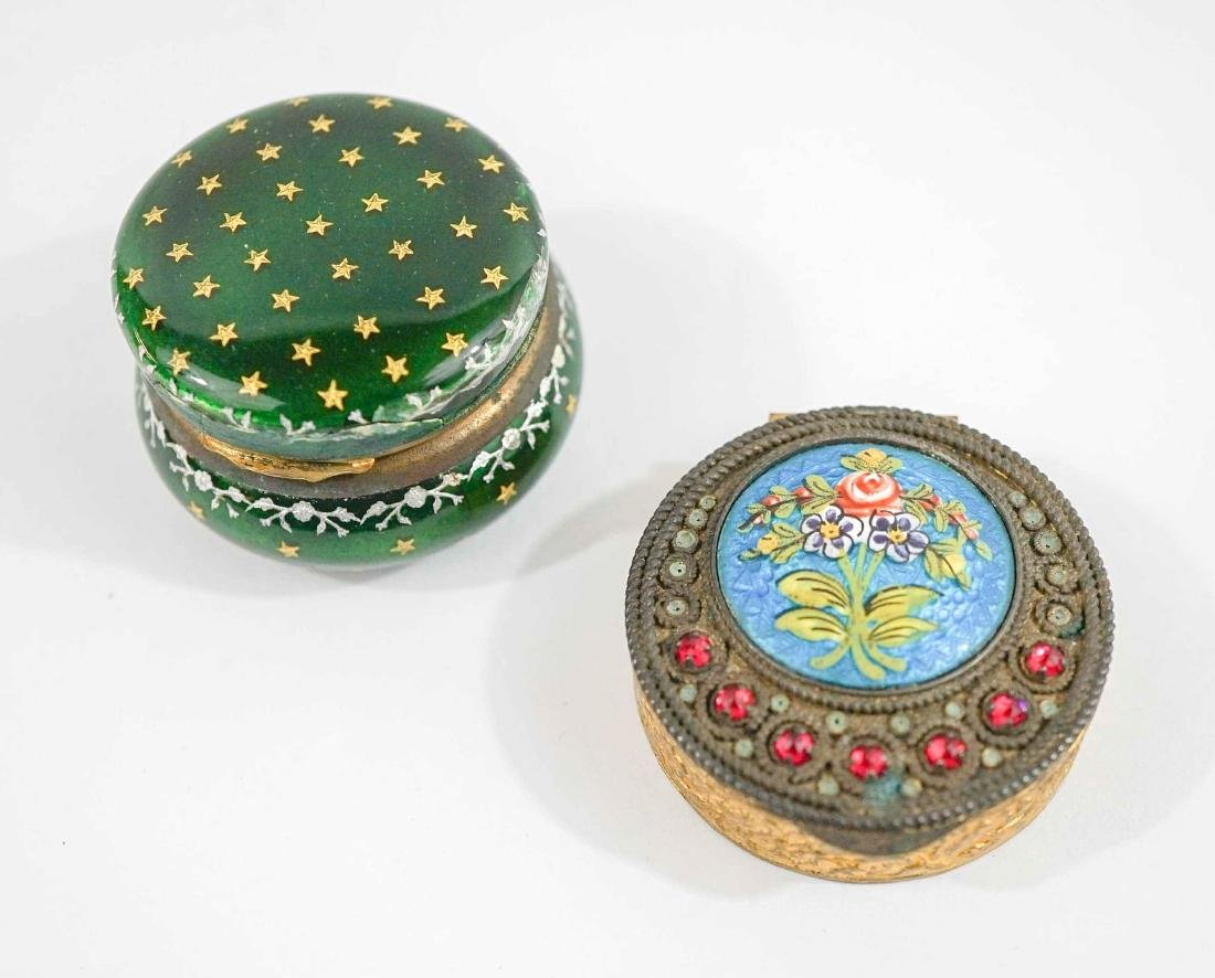 Two Small Enamel Hinged Boxes