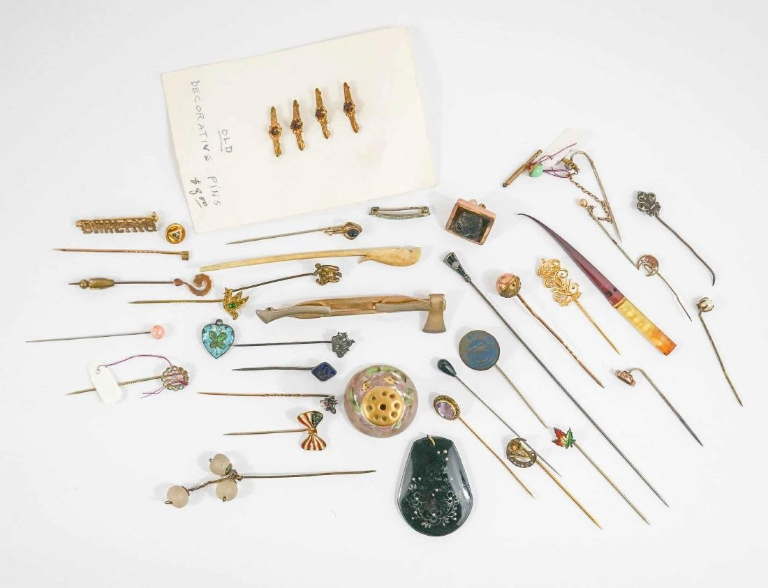 Group of Antique Stick Pins and Hair Pins