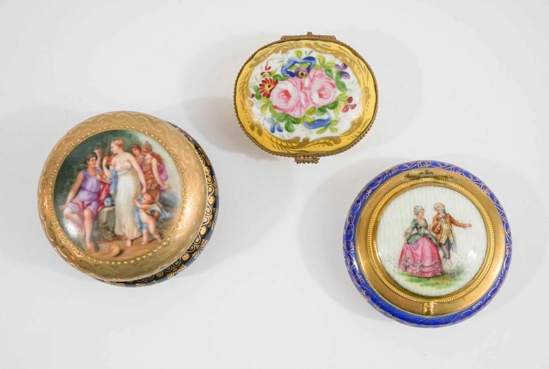 Three Fine China Trinket Boxes