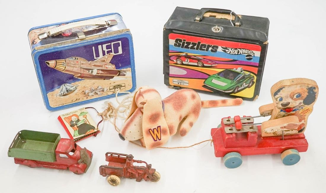 Group of Lunch Boxes and Toys