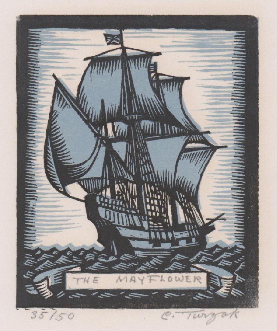 Charles Turzak Woodcut Print