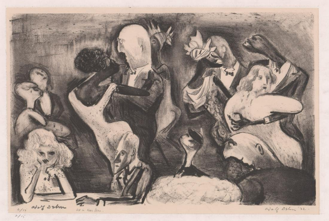 Adolf Dehn Lithograph [Up in Harlem]
