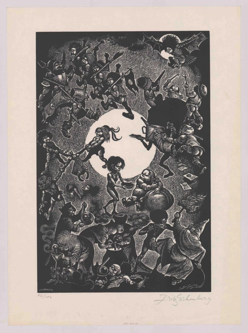 Fritz Eichenberg Signed Woodcut - 2