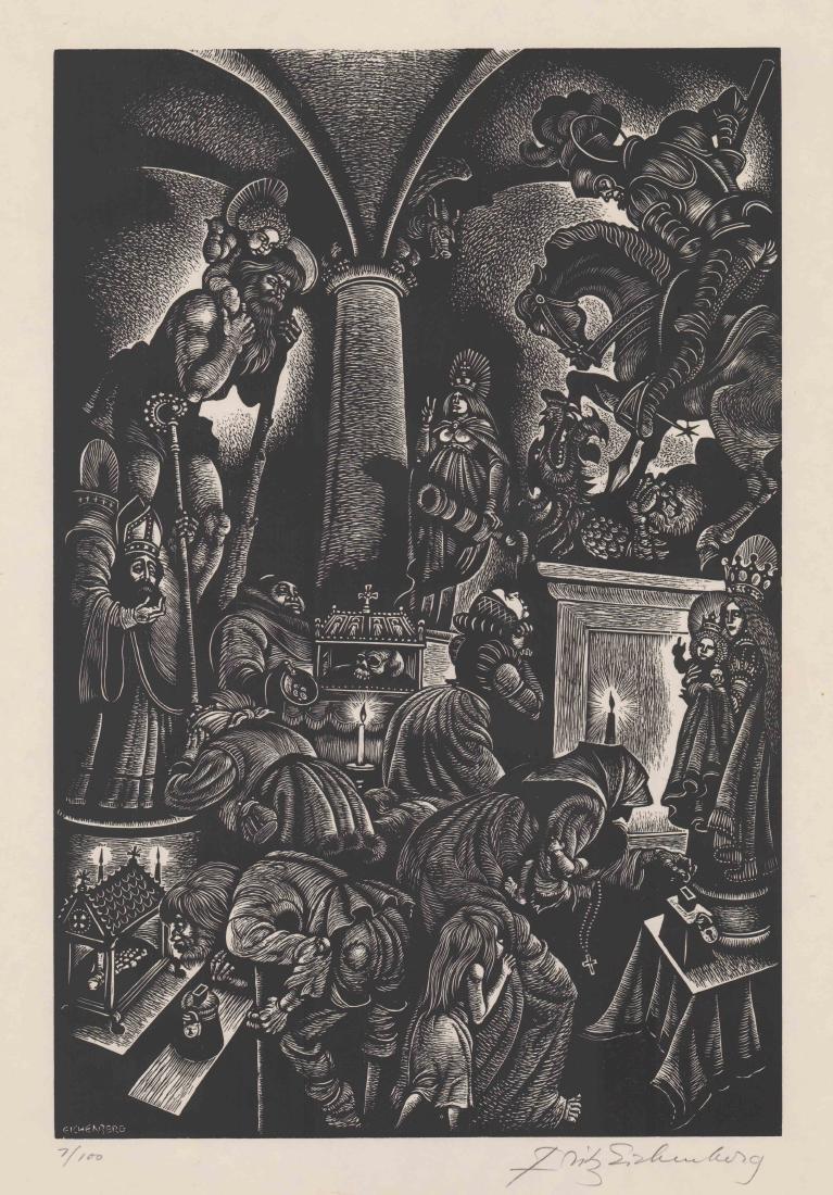 Fritz Eichenberg Signed Woodcut