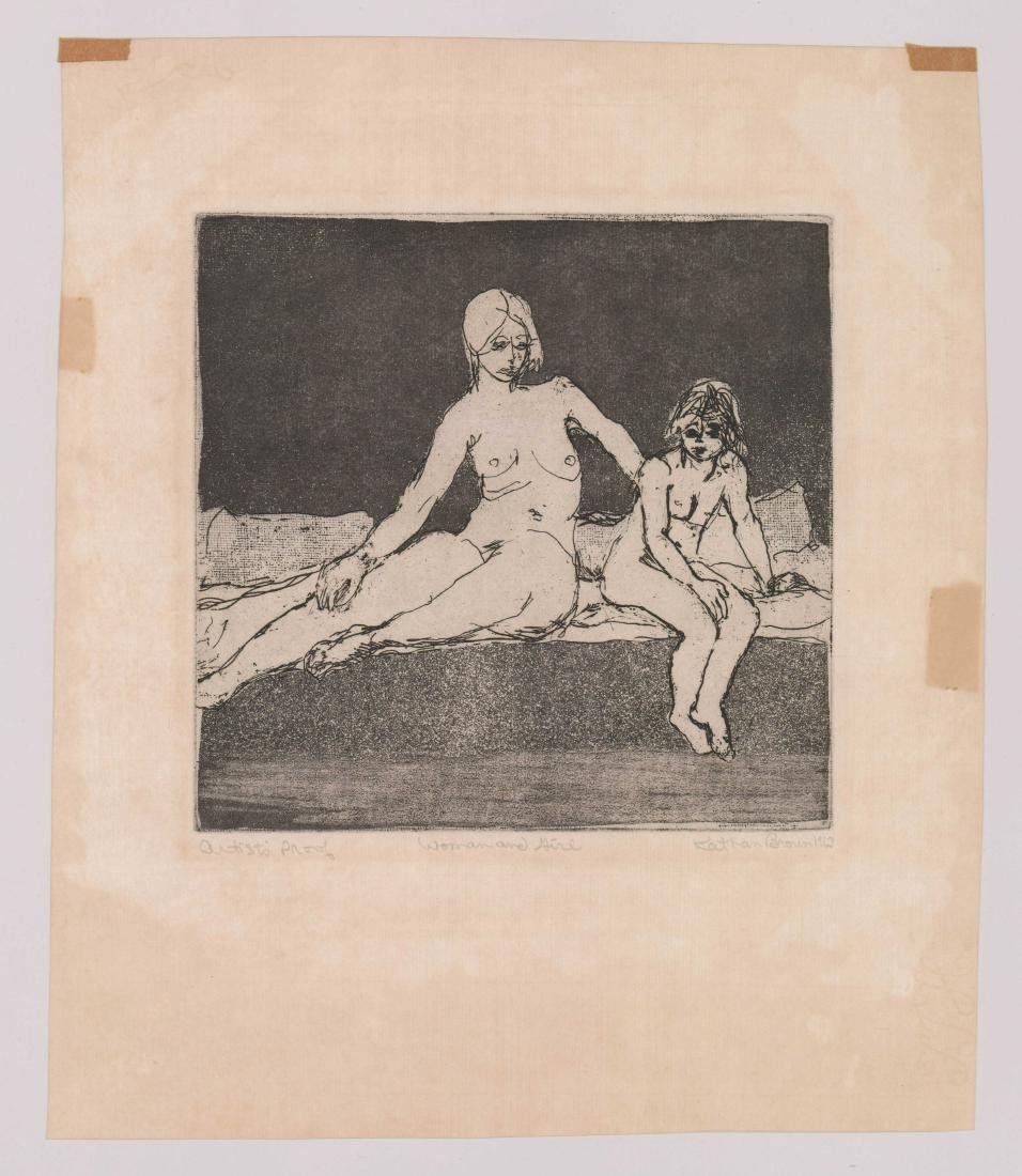 Mid-Century Signed Etching [Woman and Girl] - 2