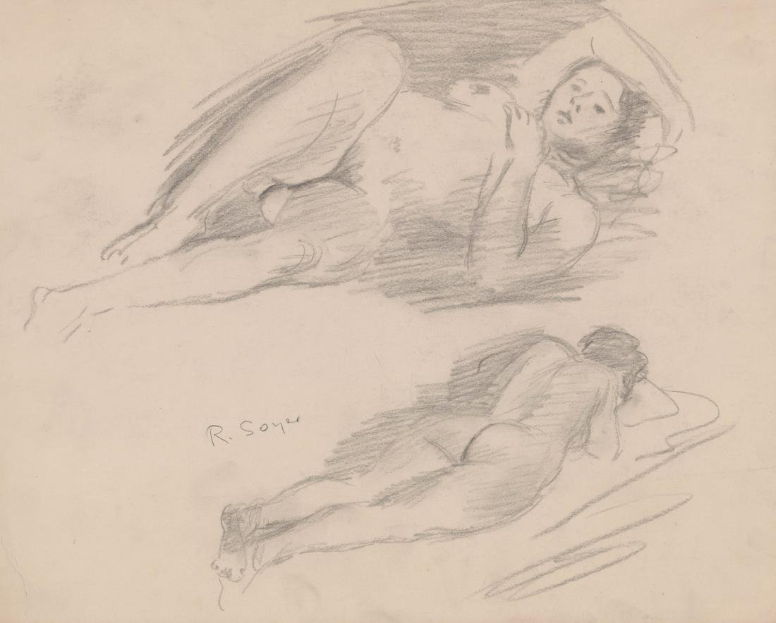 Raphael Soyer Original Charcoal on Paper