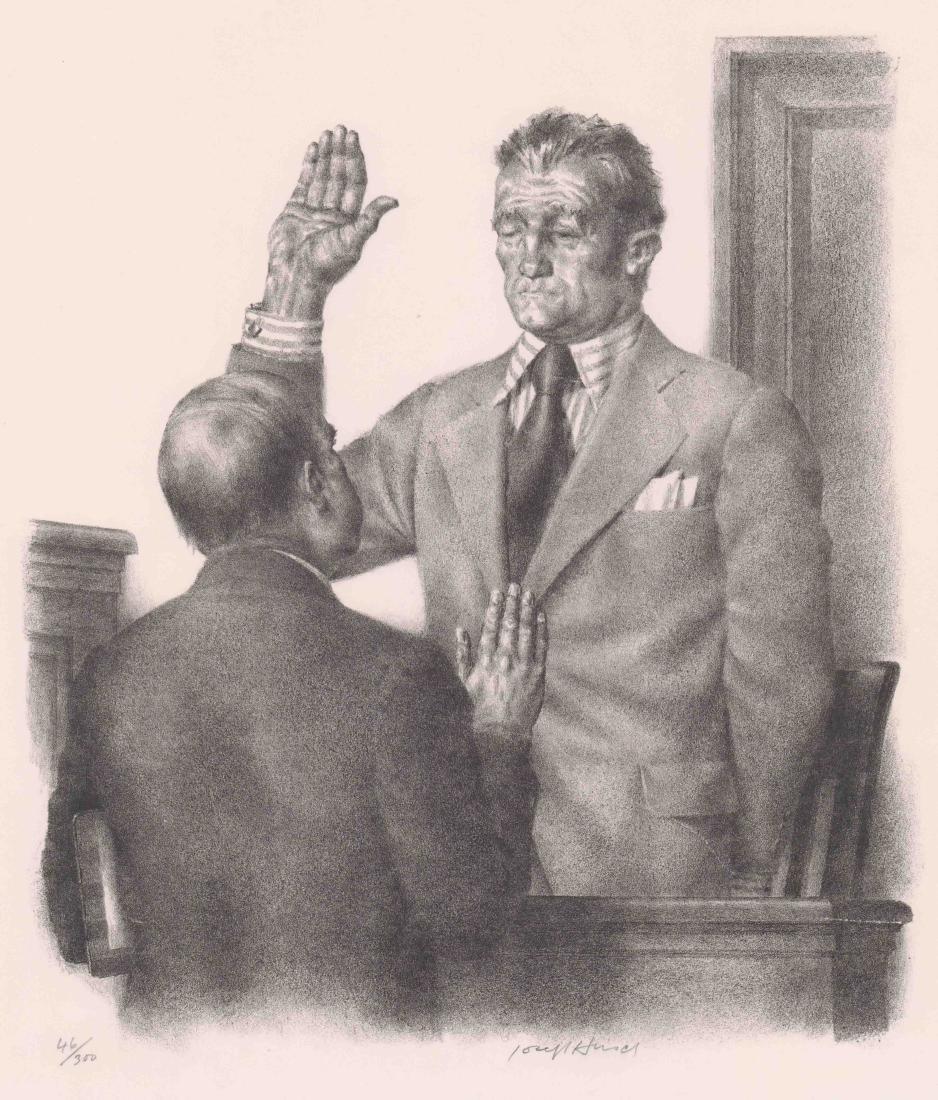 Joseph Hirsch Lithograph [Taking The Oath]
