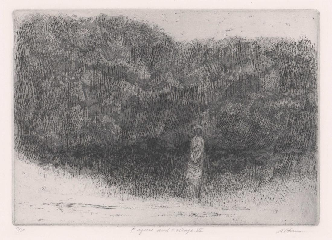 Harold Altman Etching [Figure and Foliage VI]