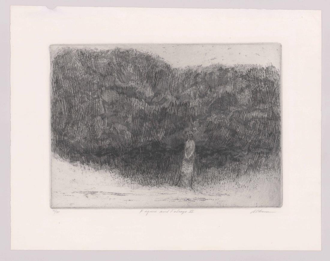 Harold Altman Etching [Figure and Foliage VI] - 2