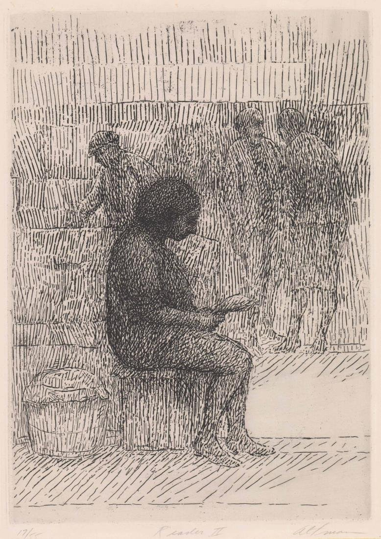 Harold Altman Etching [Reader II]