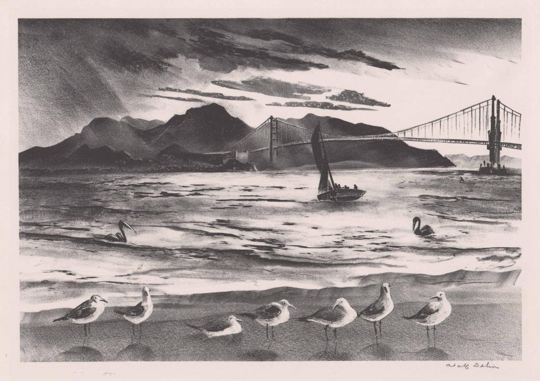 Adolf Dehn Lithograph [Golden Gate Bridge]
