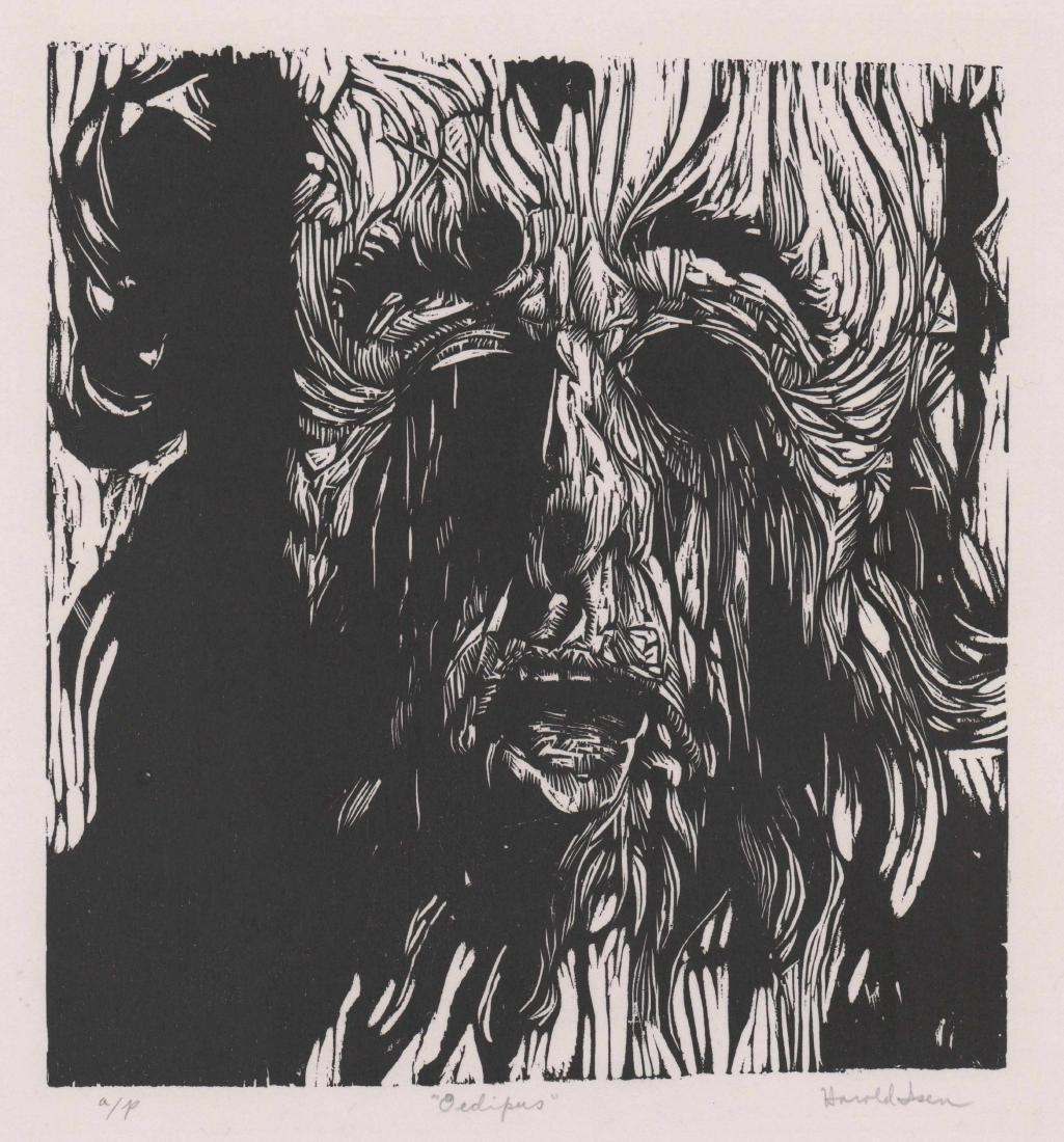 Harold Isen Artist Proof Woodcut [Oedipus]