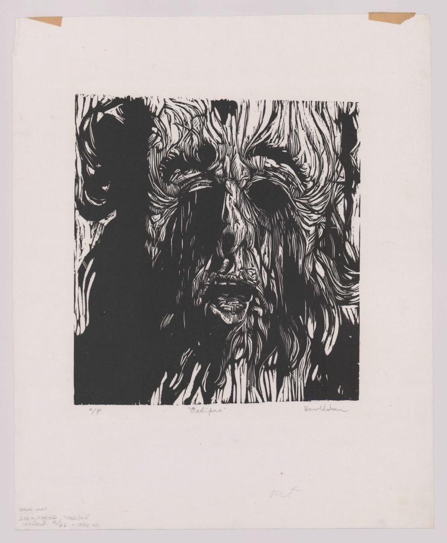 Harold Isen Artist Proof Woodcut [Oedipus] - 2