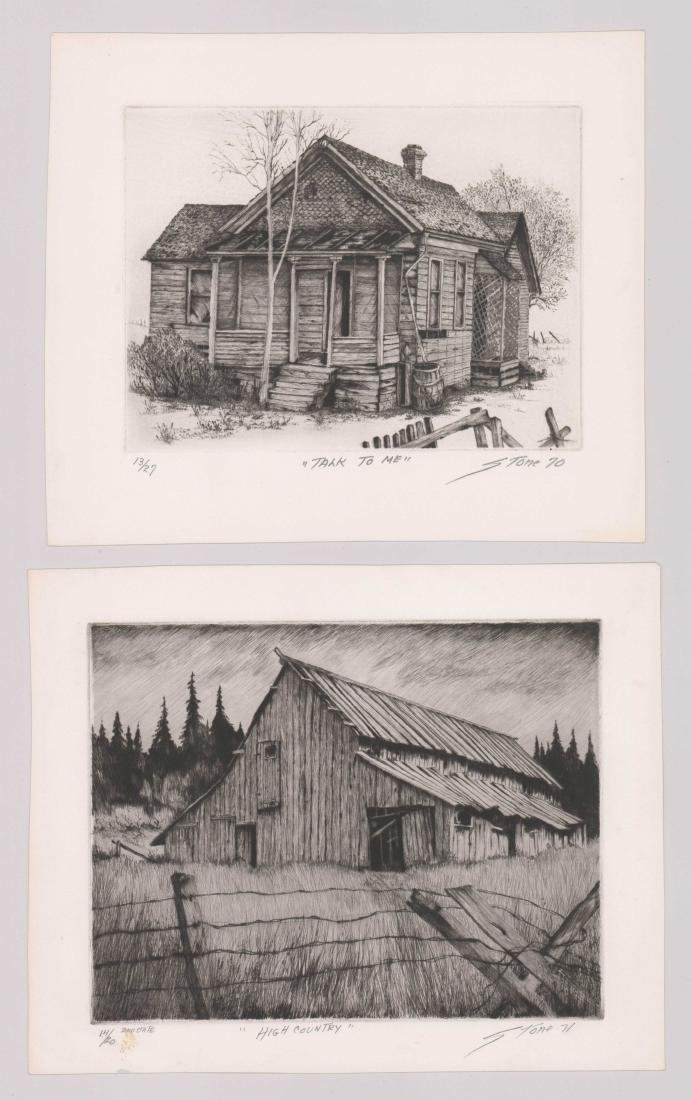 Two Pencil Signed Fine Etchings By Stone