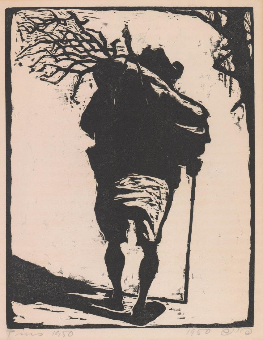 Jacob Pins (1917-2005) Woodcut