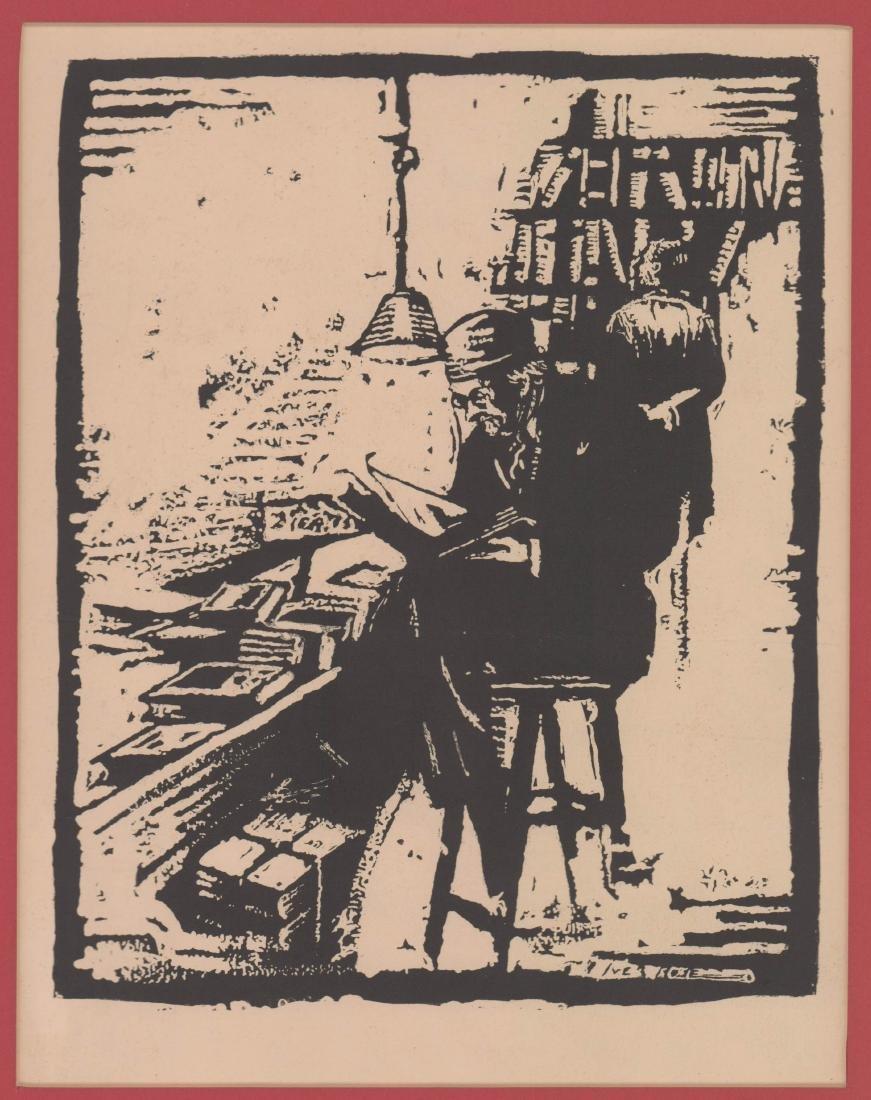 Iver Rose Woodblock Print
