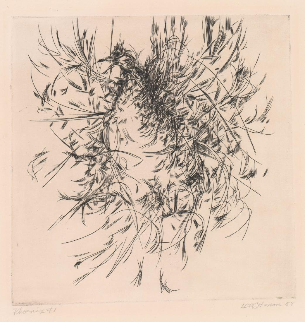 Mid-Century Signed Etching [Phoenix] By Loughman