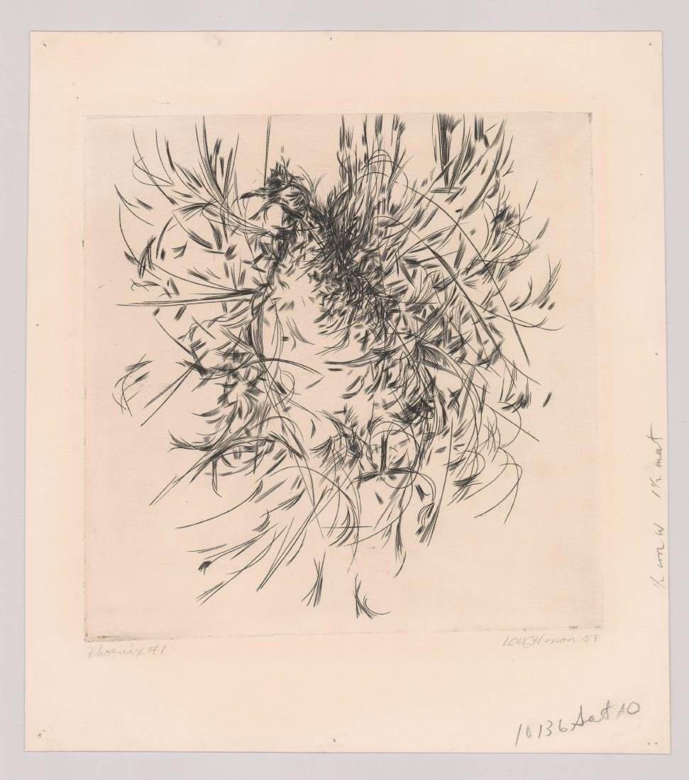 Mid-Century Signed Etching [Phoenix] By Loughman - 2